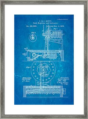 Ritty Cash Register 2 Patent Art 1879 Blueprint Framed Print by Ian Monk