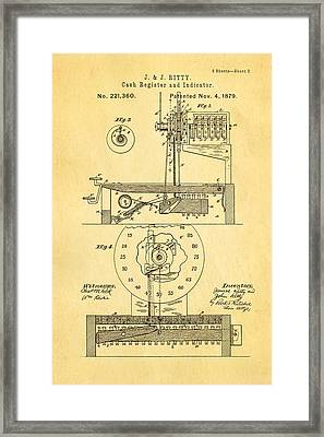 Ritty Cash Register 2 Patent Art 1879 Framed Print by Ian Monk