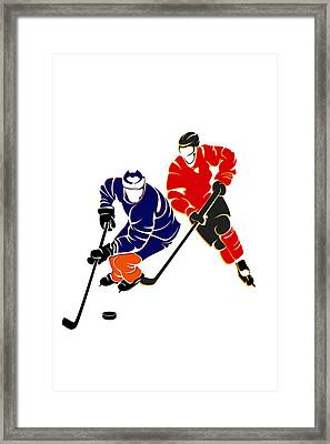 Rivalries Oilers And Flames Framed Print by Joe Hamilton