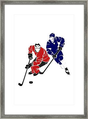 Rivalries Senators And Maple Leafs Framed Print by Joe Hamilton