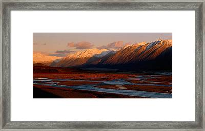 River Along Mountains, Rakaia River Framed Print by Panoramic Images