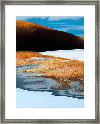 River And Reeds Framed Print by Bruce Richardson