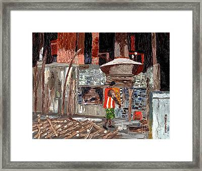Framed Print featuring the painting River Antoine Rum Distillery by Laura Forde