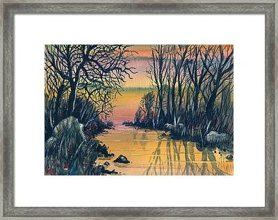 River At Sunset Framed Print