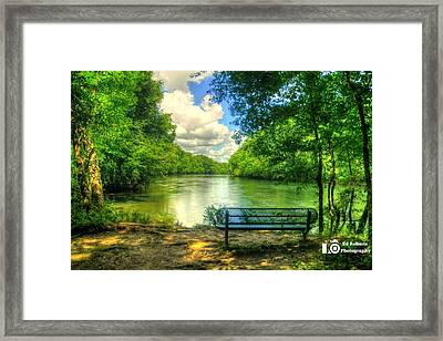 River Bench Framed Print