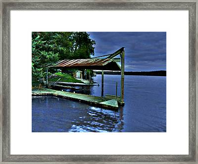 River Blues Framed Print by Lin Haring