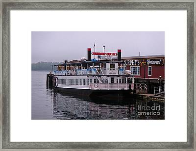 River Boat At Dock Framed Print