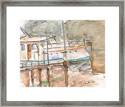 Framed Print featuring the painting River Boat  by Teresa White