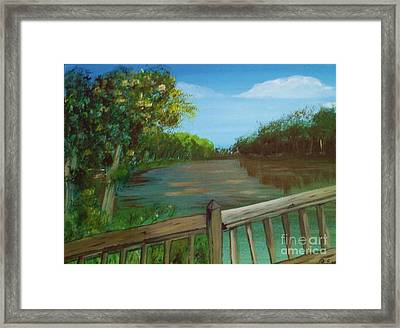 Framed Print featuring the painting River Deck by Brigitte Emme