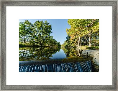 River Falls In The Fall On The Guadalupe River Framed Print by Jeffrey W Spencer
