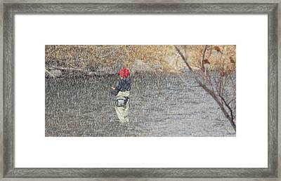 River Fishing In The Snow Framed Print by Brent Dolliver