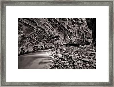River Flow Bw Framed Print by Juan Carlos Diaz Parra