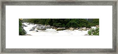 River Flowing In A Forest, Aguas Framed Print by Panoramic Images