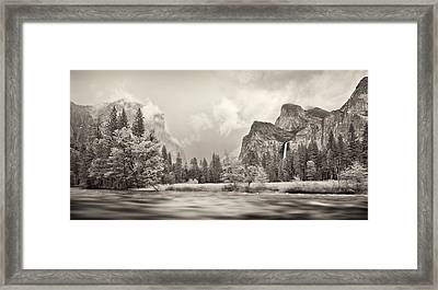 River Flowing Through A Forest, Merced Framed Print