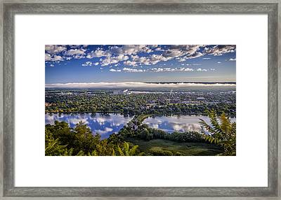 River Fog At Winona Framed Print
