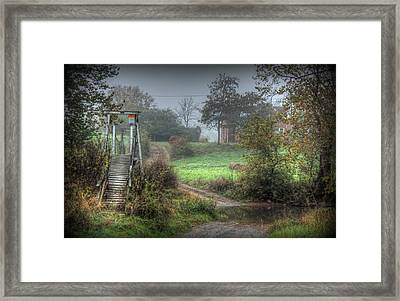River Ford With Foot-bridge Framed Print by Heavens View Photography