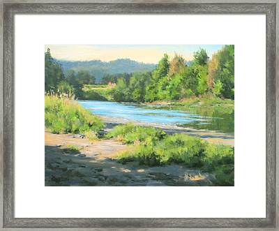 River Forks Morning Framed Print by Karen Ilari