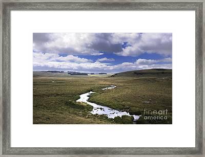 River In A Landscape Framed Print by Bernard Jaubert