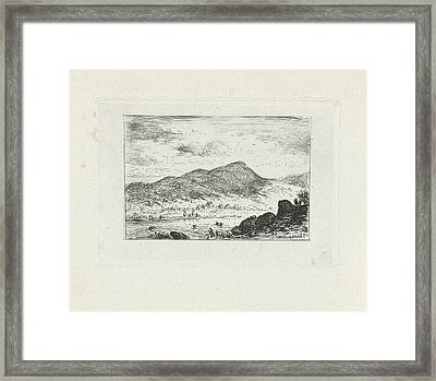 River In A Mountain Landscape, Joseph Hartogensis Framed Print by Joseph Hartogensis