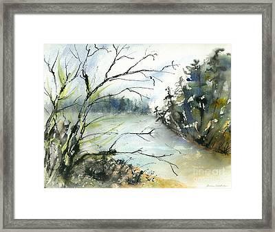 River In Autumn Framed Print by Gwen Nichols