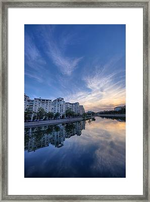 River In City At Sunset Framed Print by Ioan Panaite
