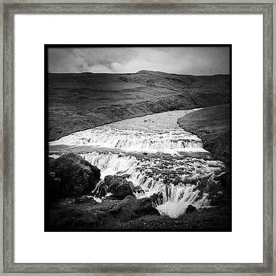 River In Iceland Black And White Framed Print