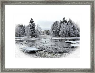 River In Winter. Textured Framed Print by Conny Sjostrom