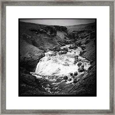 River Landscape Iceland Black And White Framed Print