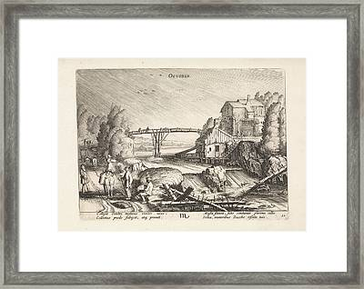 River Landscape In The Rain October, Jan Van De Velde II Framed Print