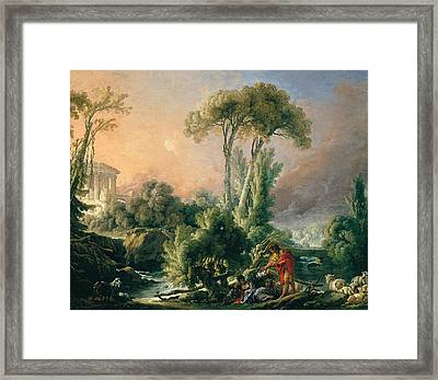 River Landscape With An Antique Temple Framed Print by Francois Boucher