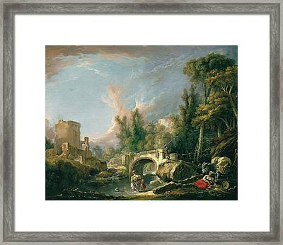 River Landscape With Ruin And Bridge Framed Print by Francois Boucher