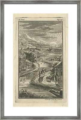 River Landscape With Sunset, Adolf Van Der Laan Framed Print