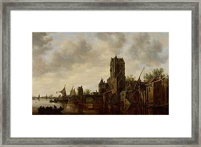 River Landscape With The Pellecussen Gate Near Utrecht Framed Print by Jan Josephsz van Goyen