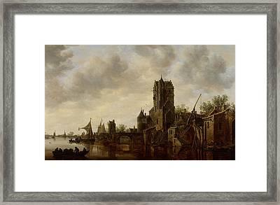 River Landscape With The Pellecussen Gate Near Utrecht Framed Print by Jan Josephsz van Goyen