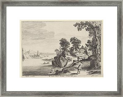 River Landscape With Travelers On Country Road Framed Print by Artokoloro