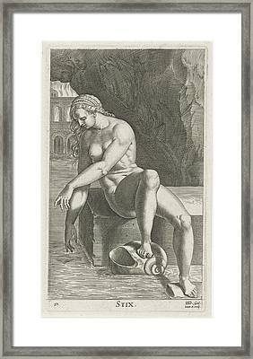 River Nymph Styx, Philips Galle Framed Print