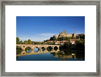 River Orb And St Nazaire Cathedral Framed Print