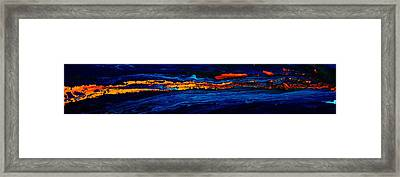River Path Abstract Art Horizontal Fluid Painting By Kredart Framed Print