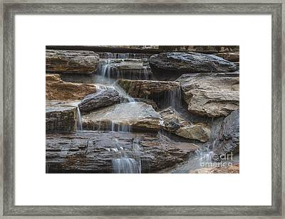 River Rock Waterfall Framed Print by Michael Waters