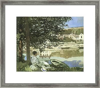 River Scene At Bennecourt Framed Print by Claude Monet