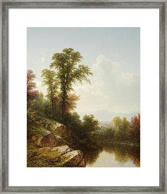 River Scene  Catskill Framed Print by John William Casilear