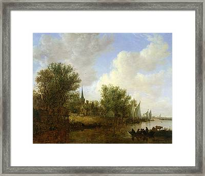 River Scene With A View Of Overschie, 1651 Oil On Canvas Framed Print by Jan Josephsz. van Goyen