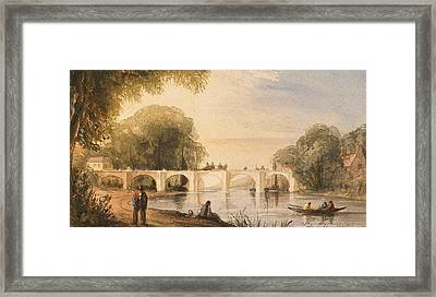 River Scene With Bridge Of Six Arches Framed Print by Robert Hindmarsh Grundy