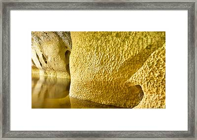 River Sculptured Marble Reflected On Water Surface Framed Print