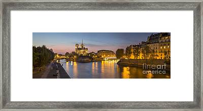River Seine - Paris Night Framed Print by Brian Jannsen