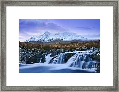 Waterfall And The Cuillins Framed Print by Rod McLean