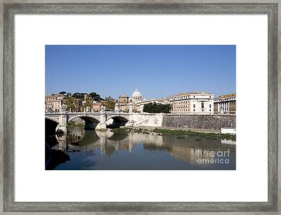 River Tiber With The Vatican. Rome Framed Print