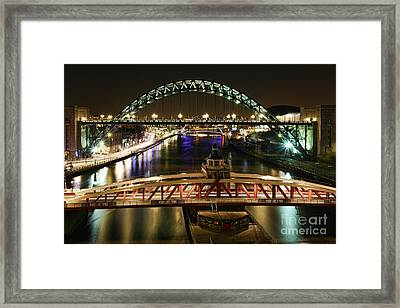 Framed Print featuring the photograph River Tyne At Night by Les Bell