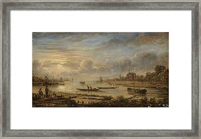 River View At Sunrise, Manner Of Aert Van Der Neer Framed Print