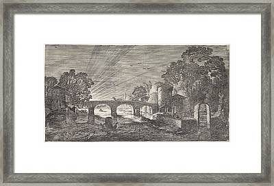 River View At Sunset, Jan Van De Velde II Framed Print
